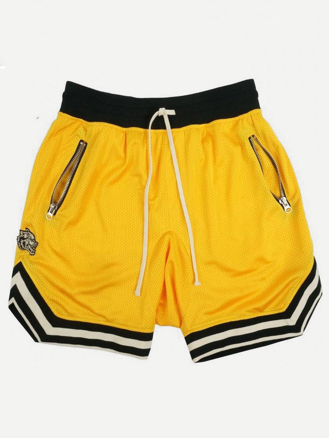 Men Striped Trim Drawstring Waist Shorts men colorful striped drawstring shorts