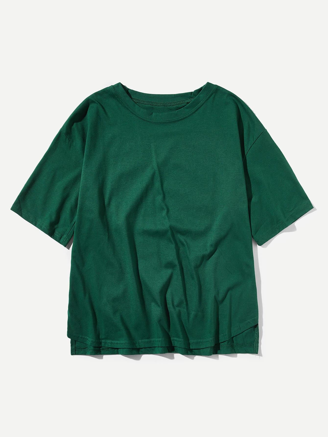 Men Asymmetric Hem Solid T-shirt