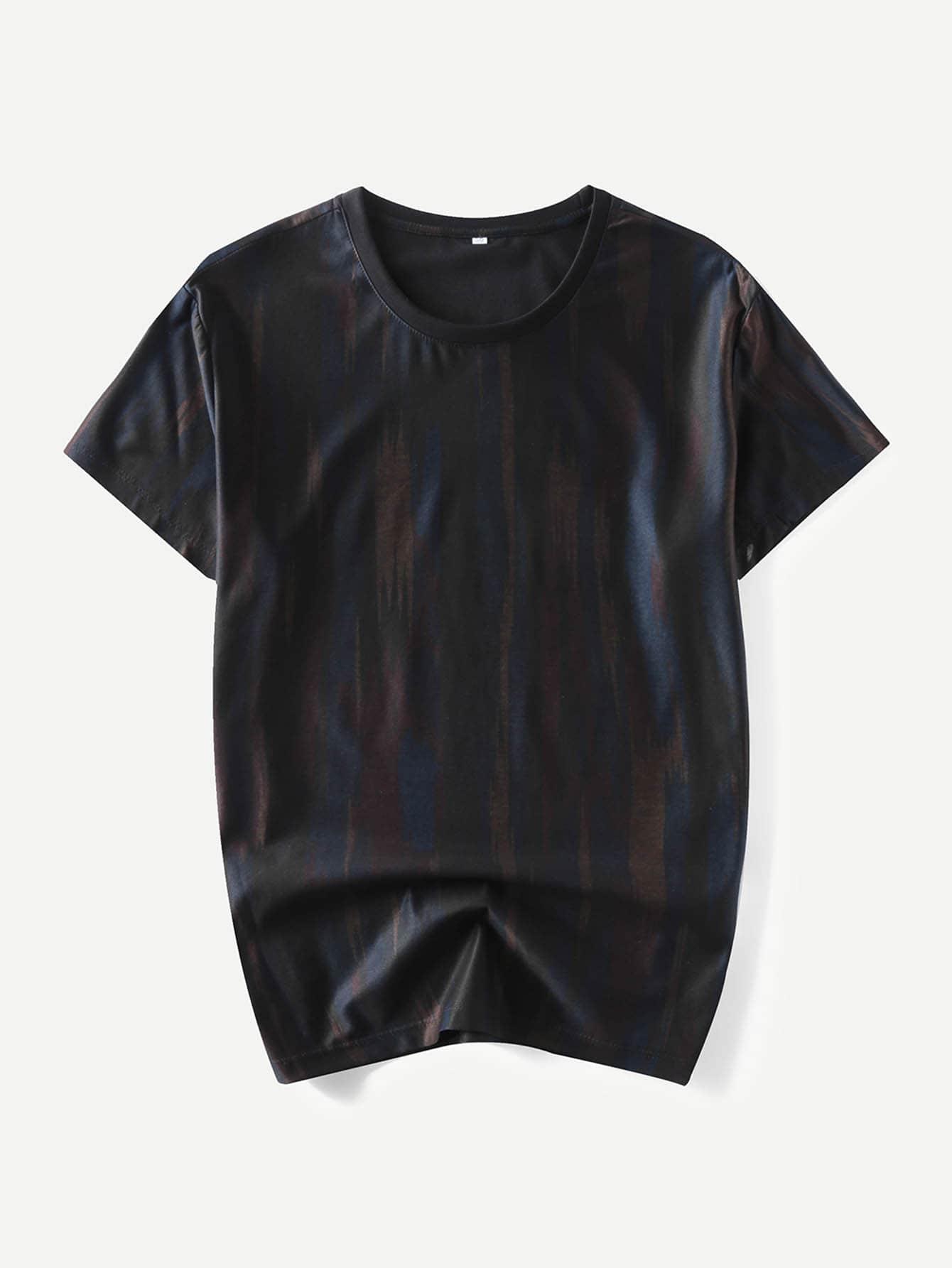 Купить Мужская полосатая футболка, null, SheIn