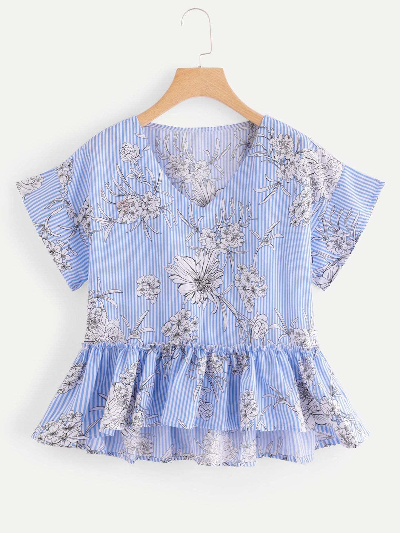 цена Floral Print Striped Pep Hem Blouse