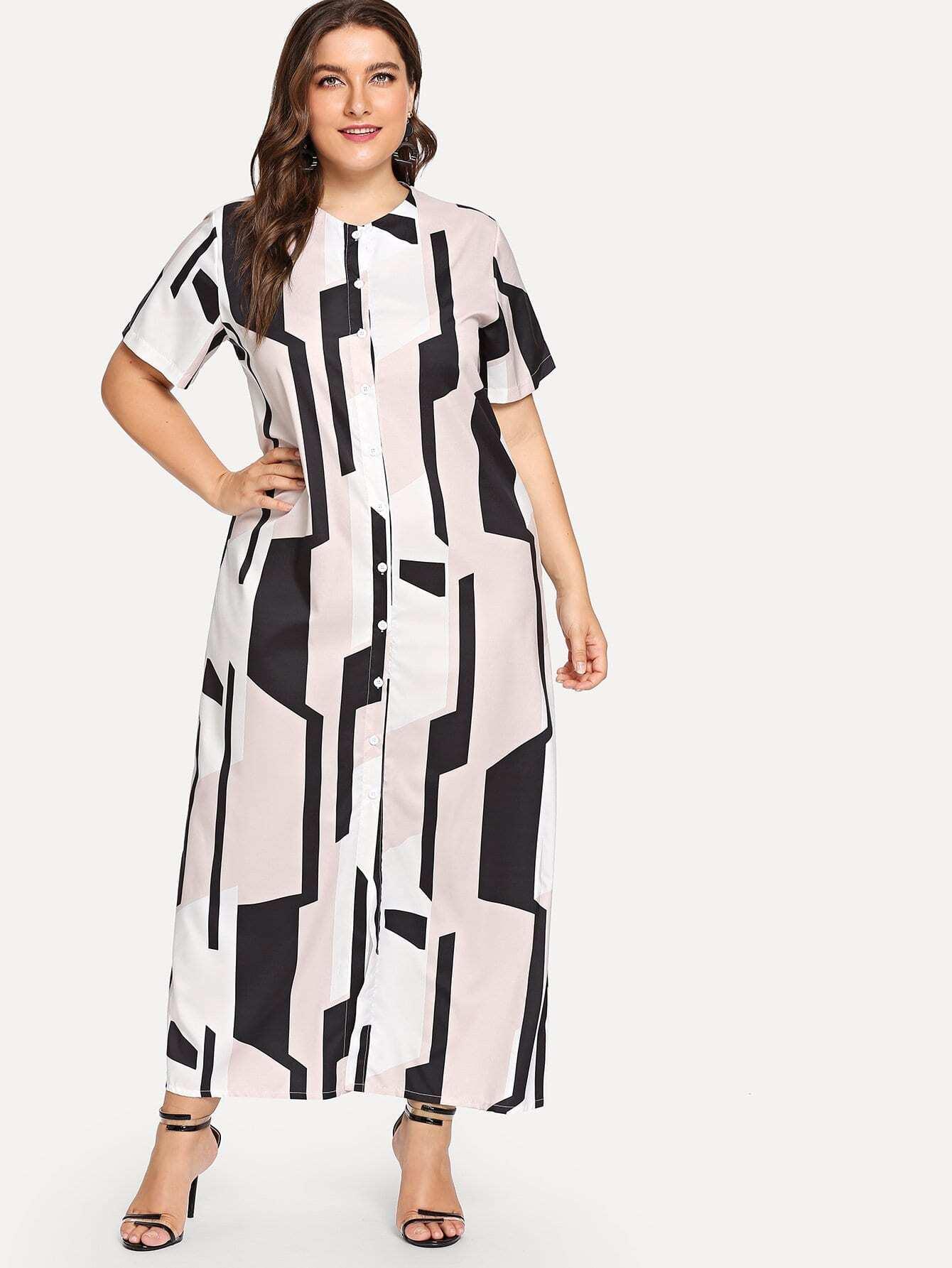 Plus Geometric Print Single Breasted Dress