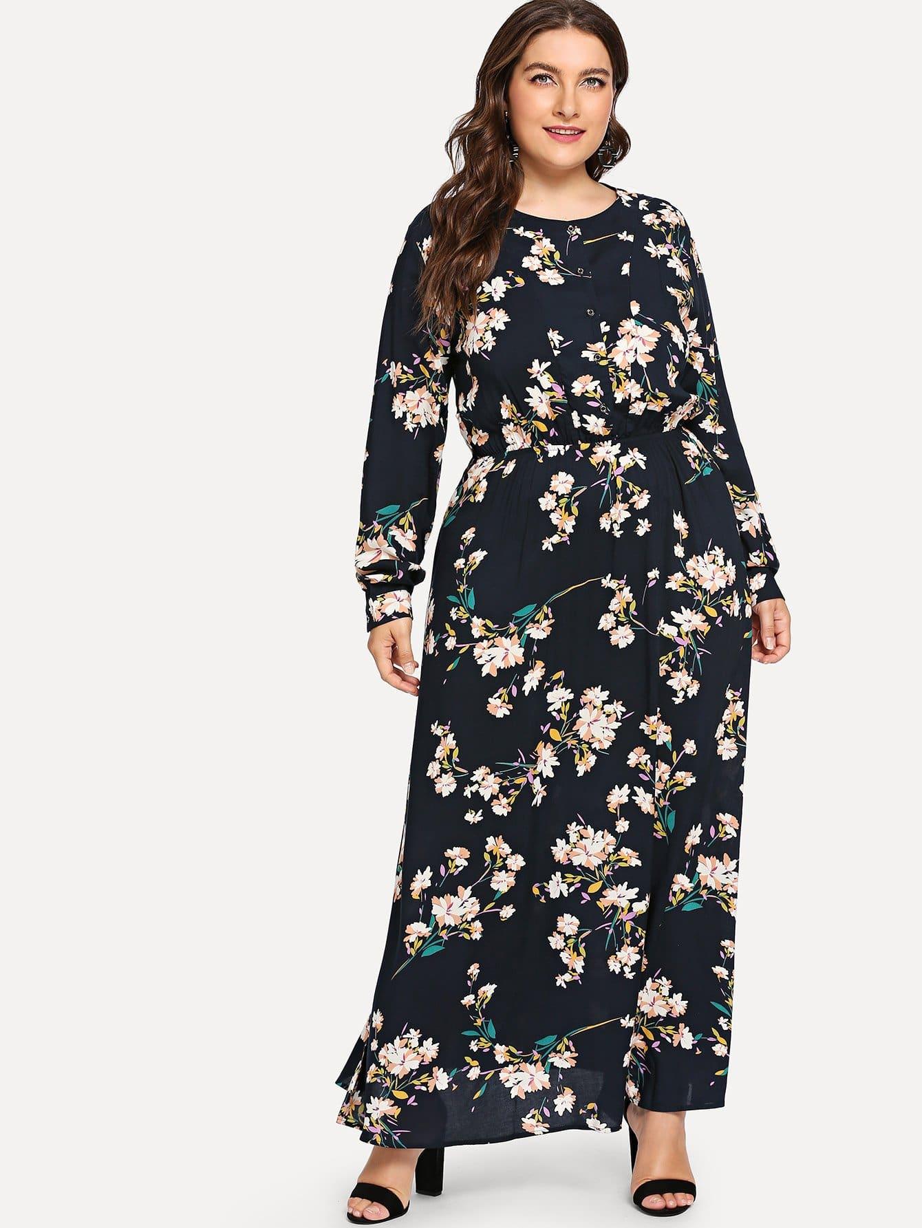 Купить Повседневные Цветочный Пуговица Чёрные Платья большого размера, Franziska, SheIn