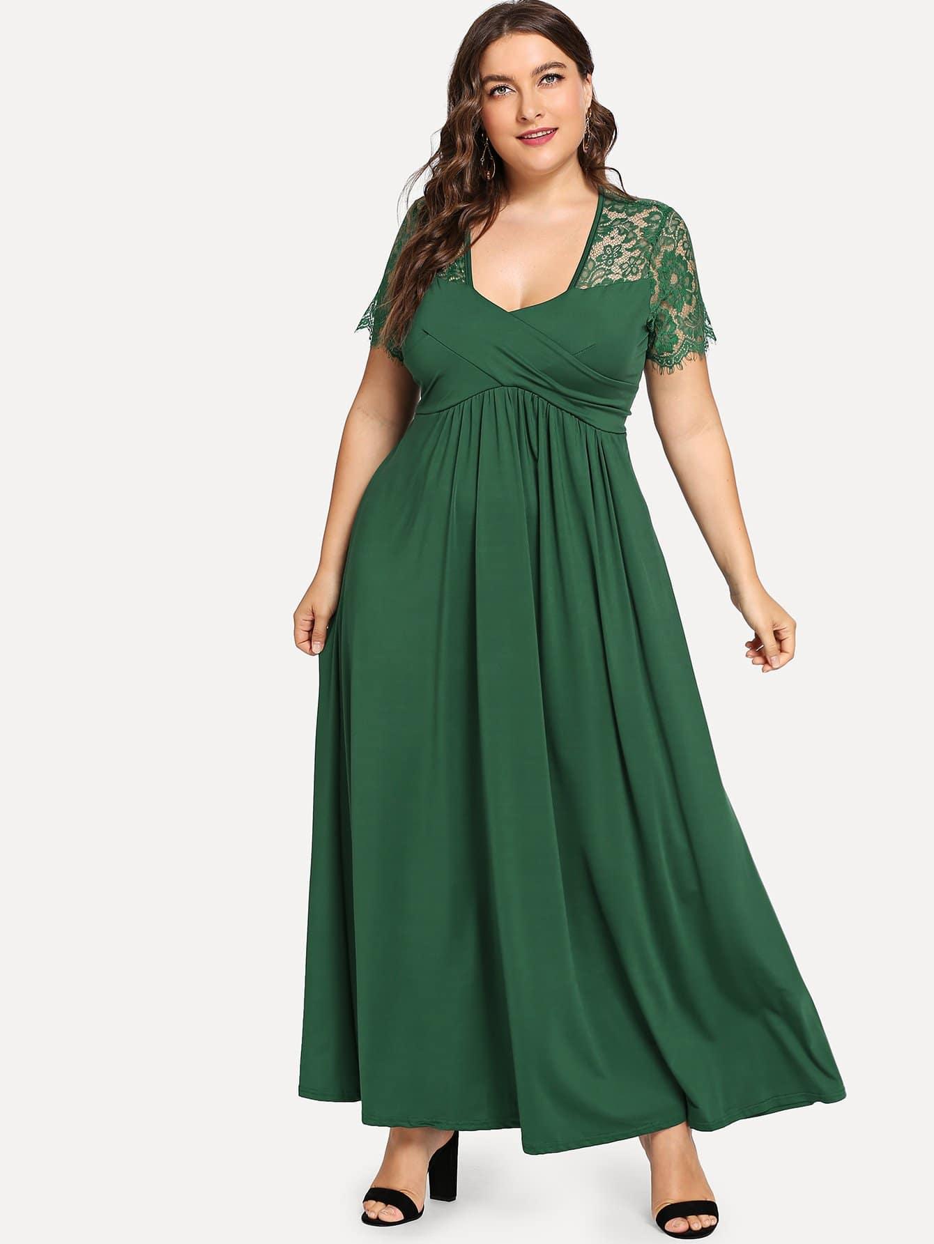 Plus Contrast Lace Zip Back Dress