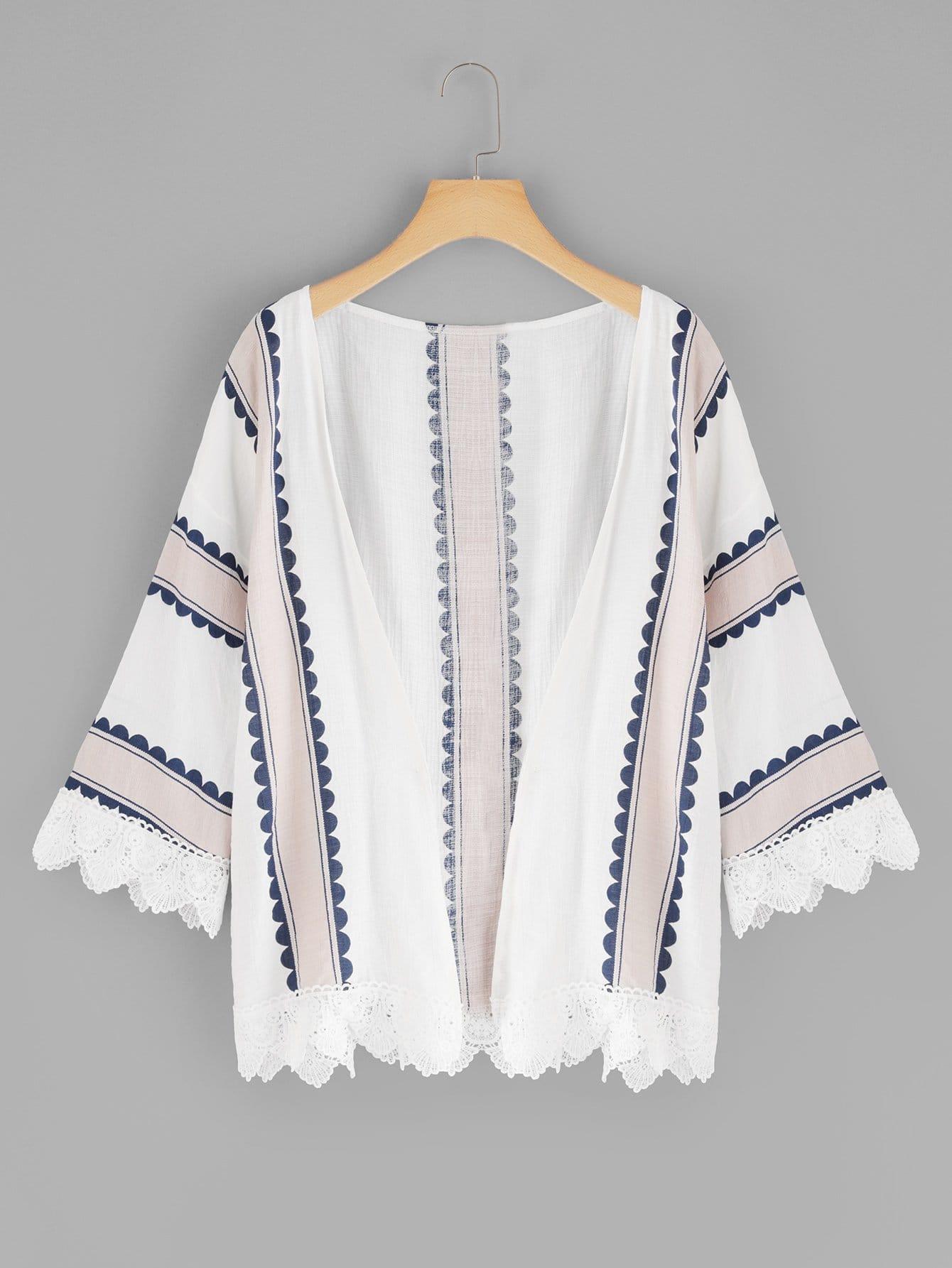 Купить Повседневный Полосатый кимоно Многоцветные Кимоно, null, SheIn