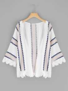 Lace Trim Printed Kimono