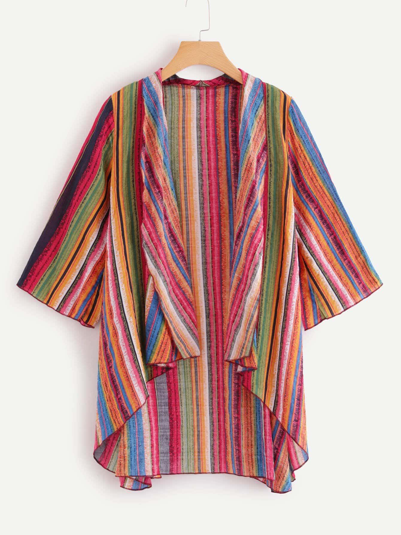 Купить Повседневный Полосатый Асимметричный кимоно Многоцветные Кимоно, null, SheIn