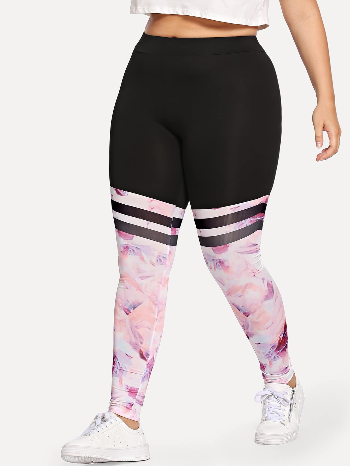 Plus Floral Print Leggings цена 2017