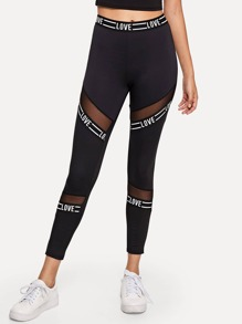 Sheer Mesh Panel Letter Print Leggings