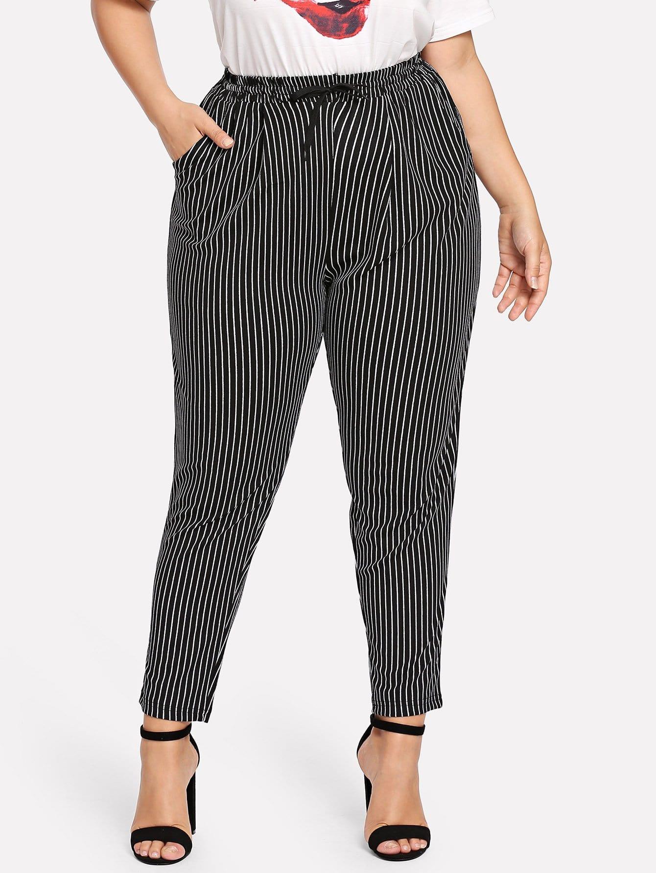 Plus Striped Drawstring Pocket Pants