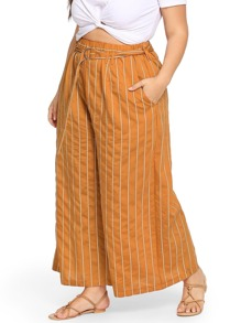 Plus Striped Belted Pocket Pants