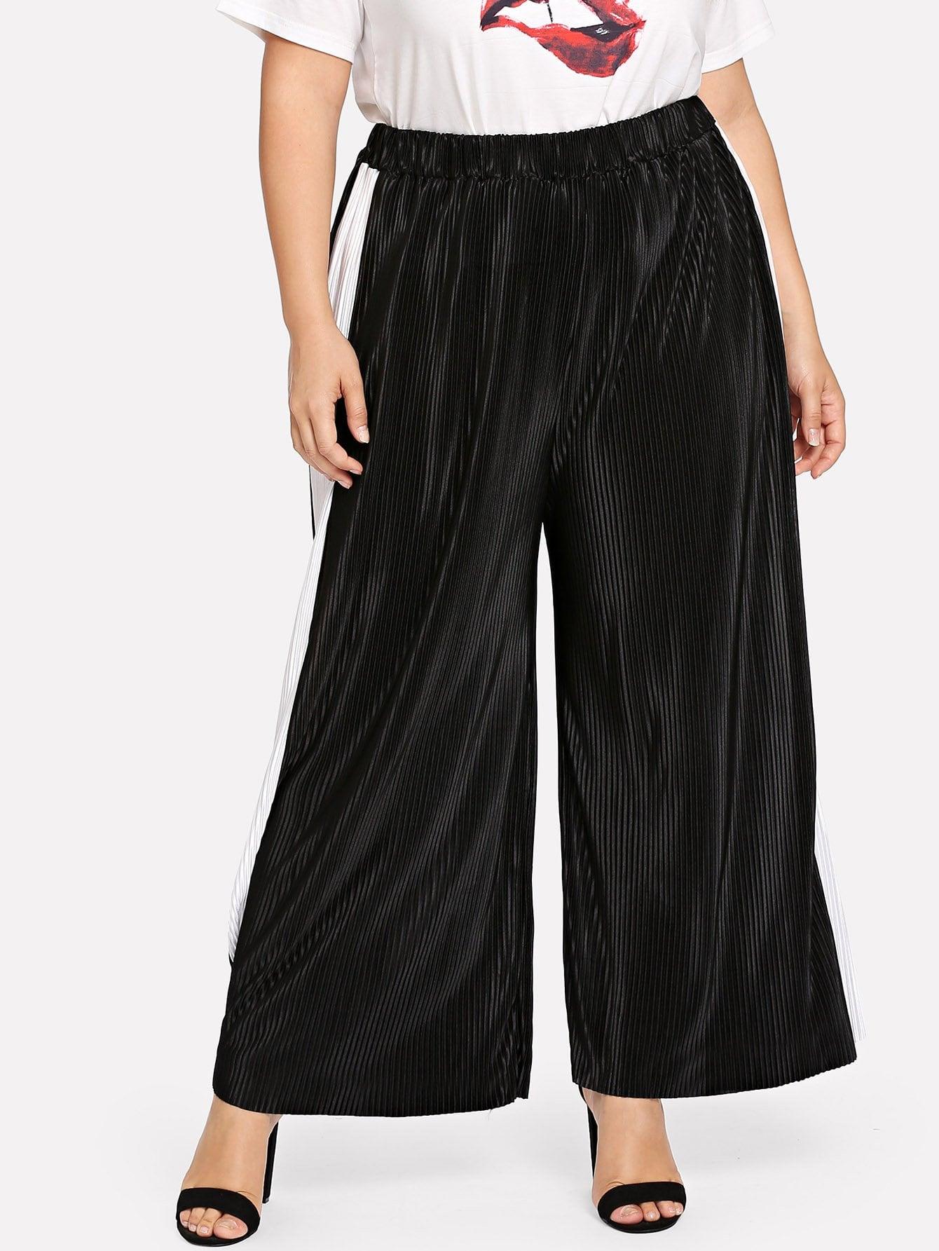 Купить Элегантный Полосатый плиссированное Чёрные Брюки размера плюс, Franziska, SheIn