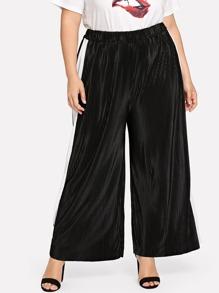 Plus Striped Side Pleated Pants