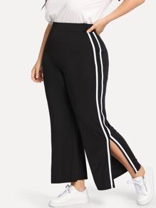 Plus Striped Side Split Pants