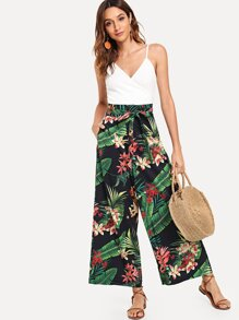 Self Tie Waist Tropical Print Wide Leg Pants