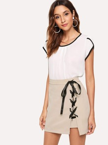 Asymmetrical Hem Lace Up Skirt