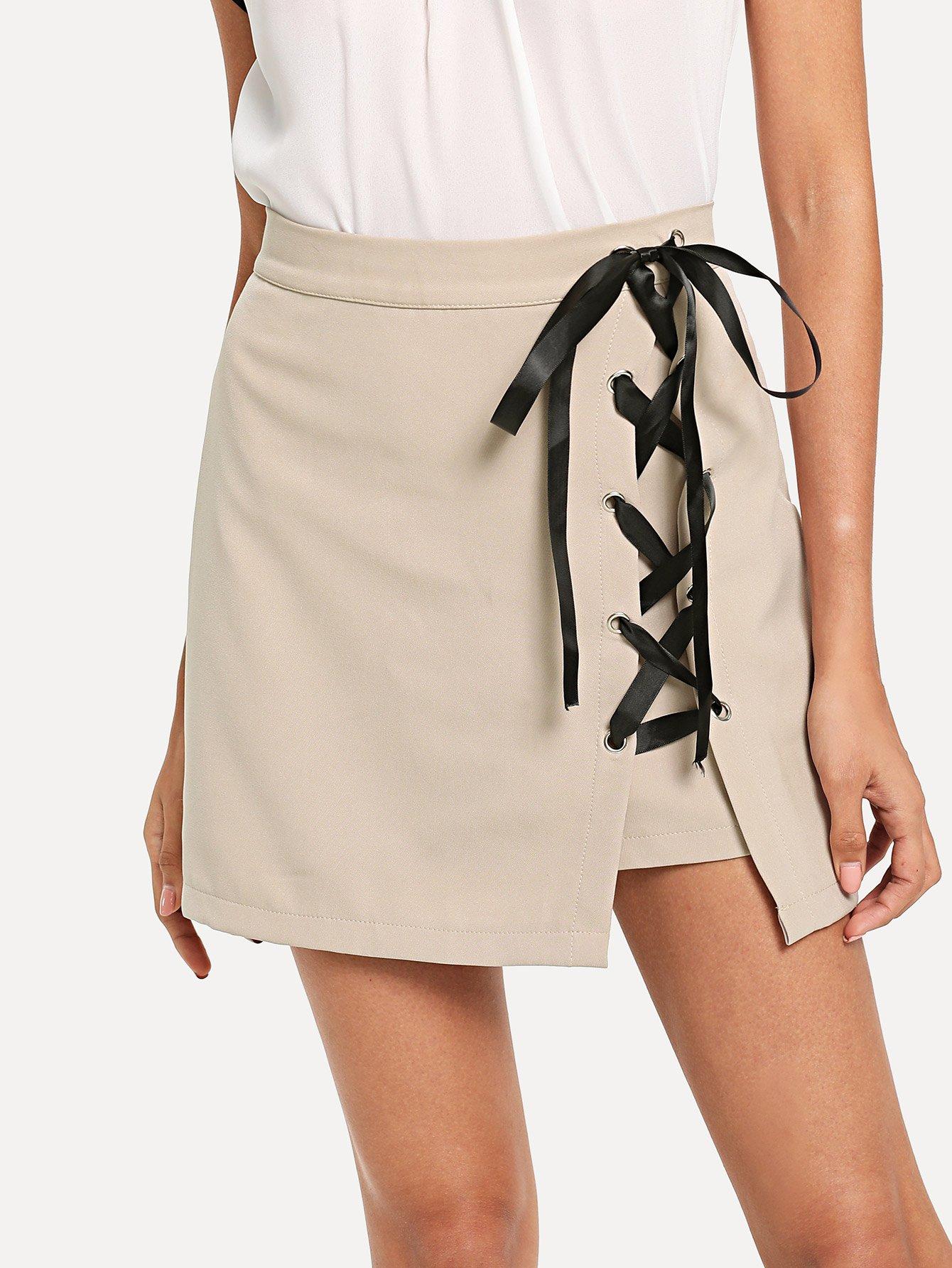 Asymmetrical Hem Lace Up Skirt orange lace up design irregular hem skirt
