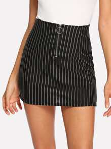 Zip Up Front Striped Skirt
