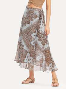 Geo Print Knot Side Skirt