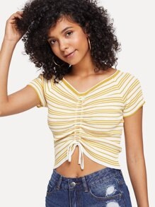 Striped Ruched Crop Tee