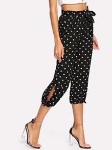 Self Tie Waist Split Side Polka Dot Pants