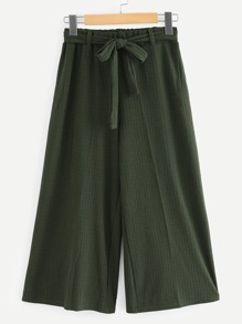 Solid Wide Leg Pants With Belt