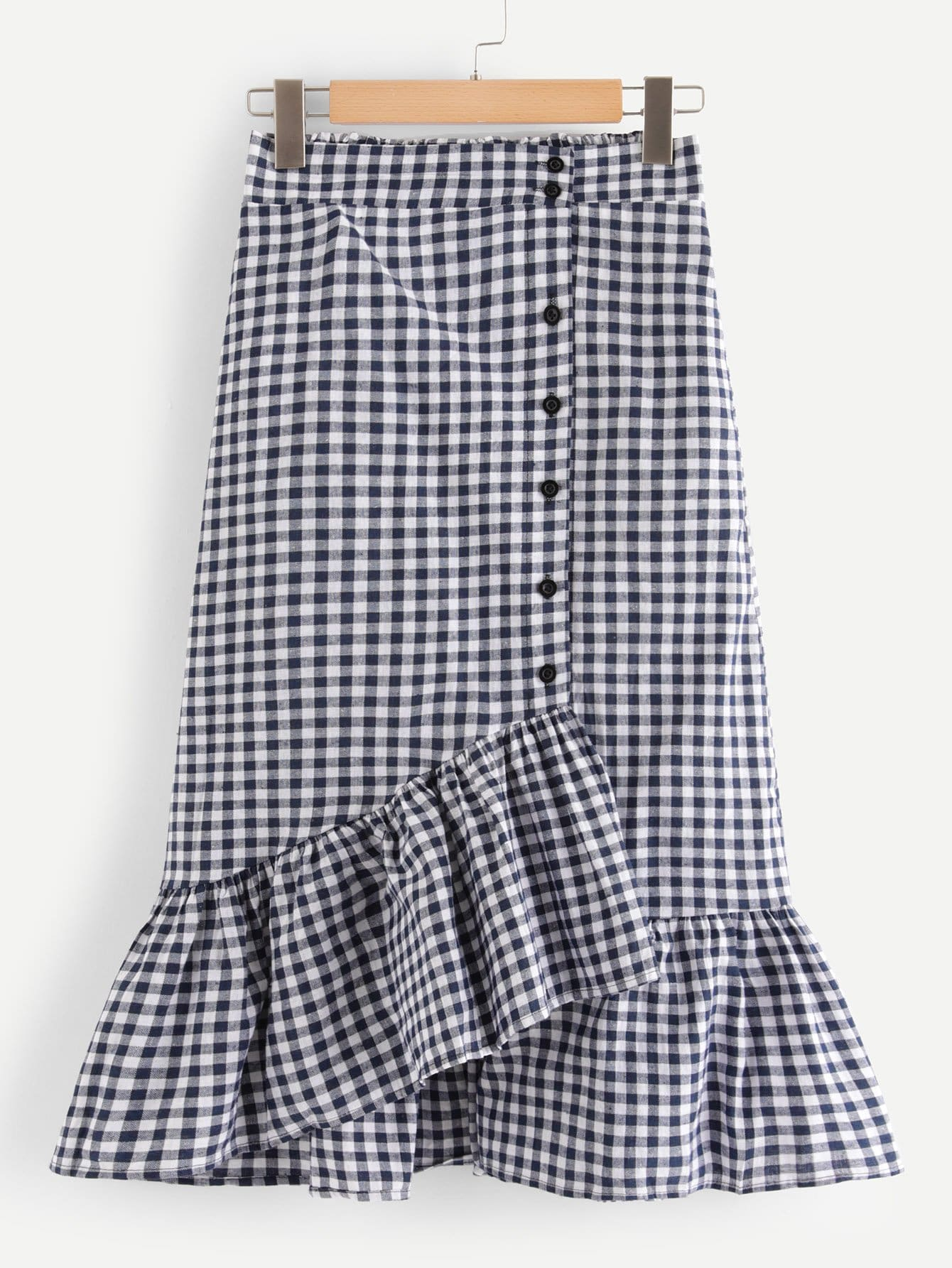 Button Front Mermaid Gingham Skirt