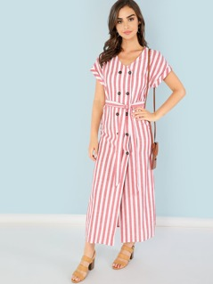 Self Belted Double Breasted Striped Dress