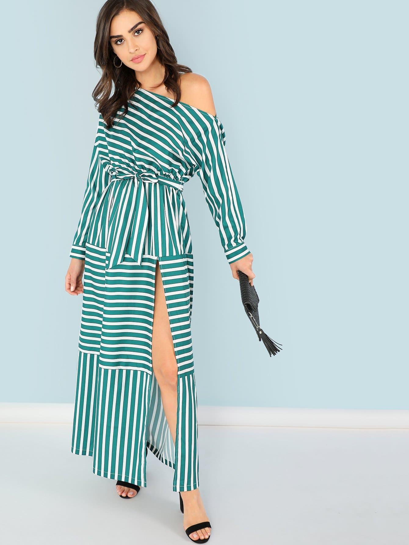 One Shoulder Waist Knot Split Striped Dress one shoulder waist knot split striped dress