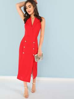 Double Button Split Notched Shell Dress