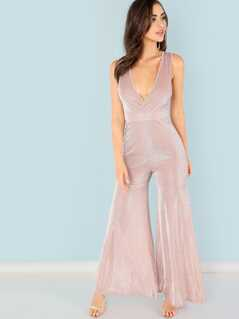 Deep V Neck Flared Leg Jumpsuit
