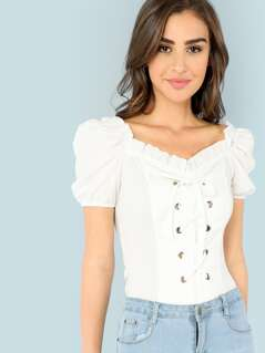 Frill Trim Lace Up Top