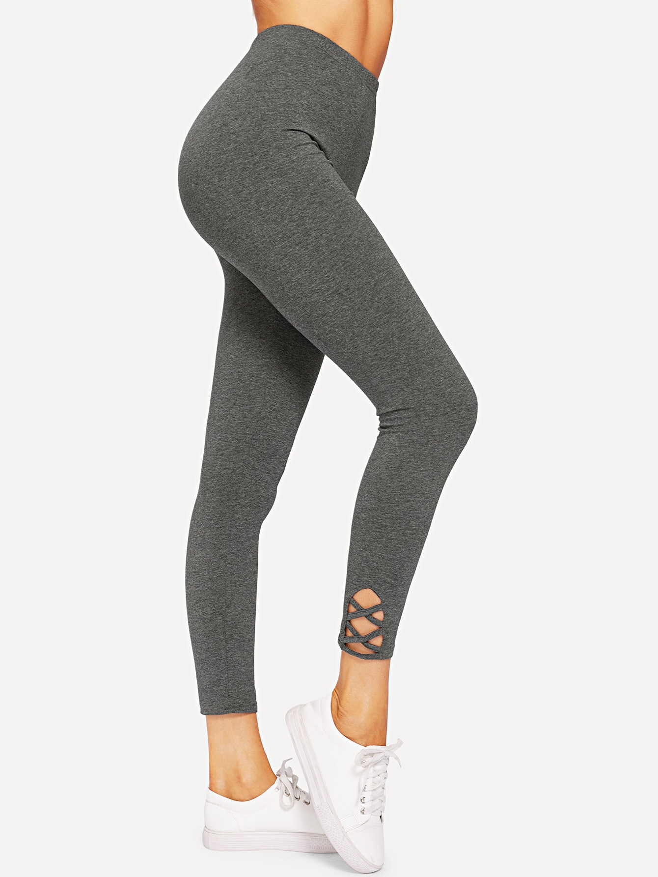 Lattice Hem Empire Leggings