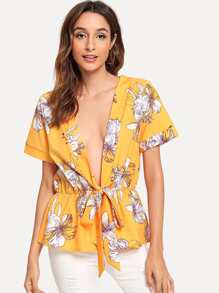 Self Tie Front Tropical Print Blouse