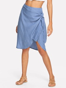 Knot Side Asymmetric Hem Skirt