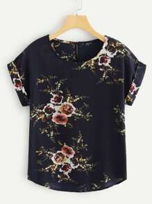 Rolled Cuff Floral Print Blouse