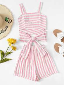 Cross Back Striped Cami Top With Wide Leg Shorts