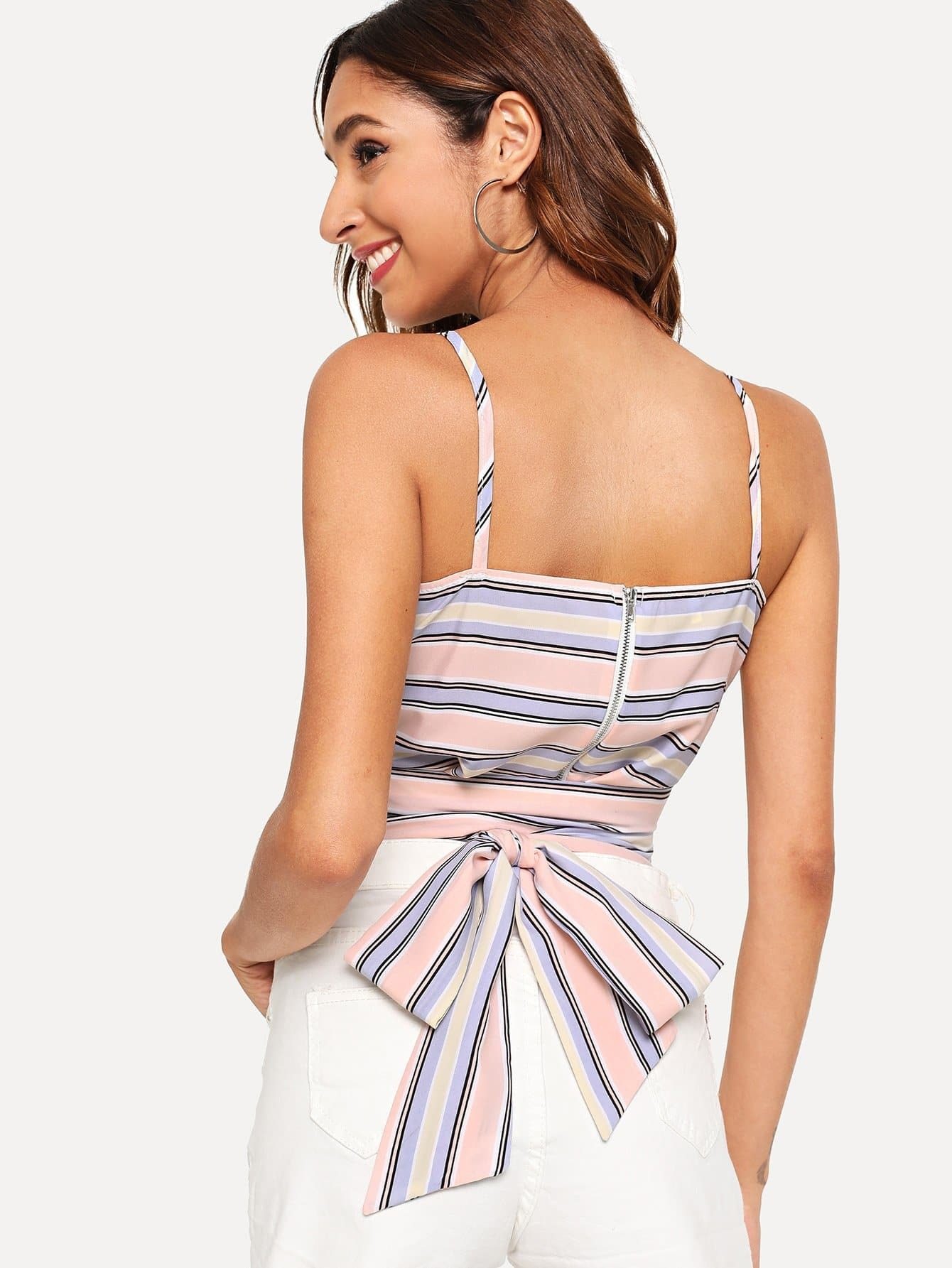 Striped Knot Back Surplice Cami Top 2017 direct selling sale flap european luxury sales supply full diamond tiger dinner bag hand high grade evening one generation