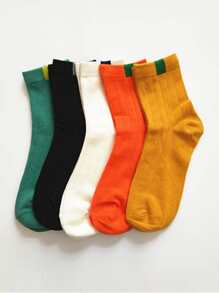Contrast Design Ankle Socks 5Pairs