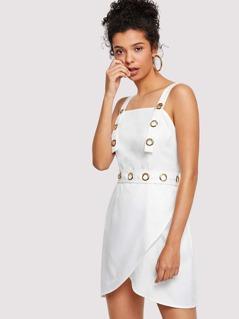 Adjustable Strap Wrap Split Front Dress