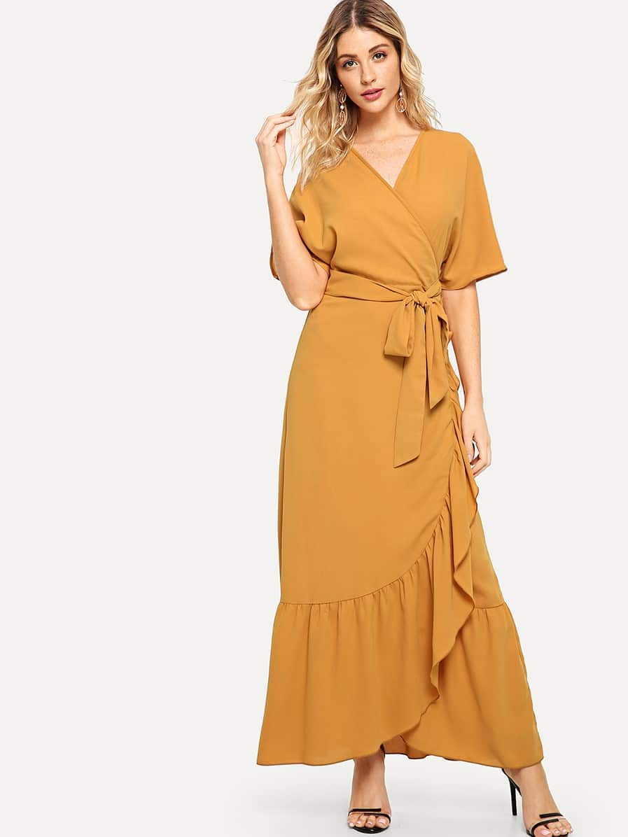 Self Belted Ruffle Hem Surplice Wrap Dress surplice neck self belted floral dress