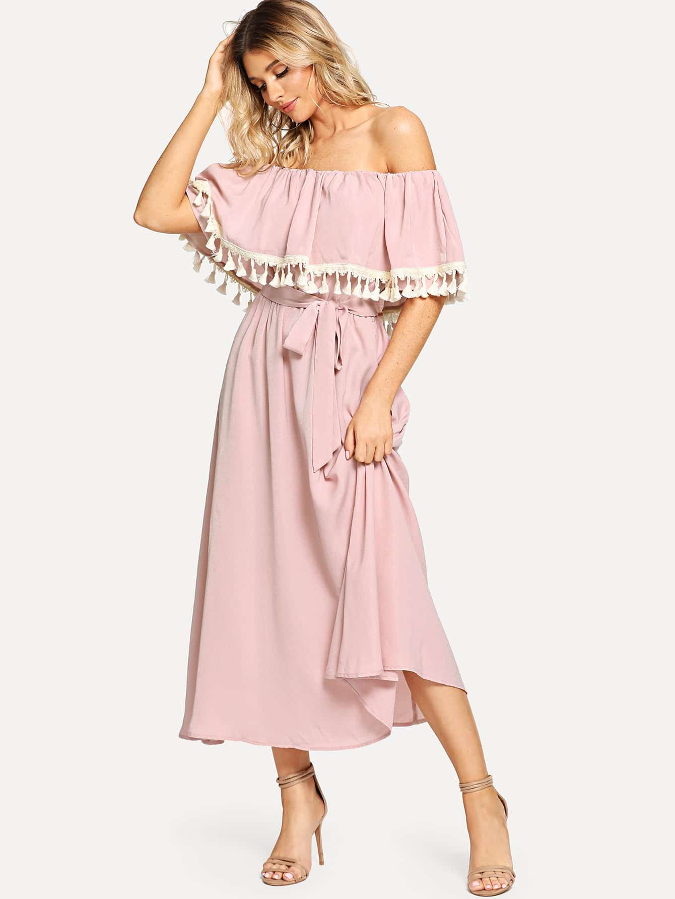 Off Shoulder Tassel Embellished Self Belted Dress off shoulder tassel trim beach dress