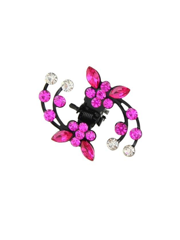 Hotpink 1 Pc Colorful Rhinestone Flower Hair Charms Claws Accessories