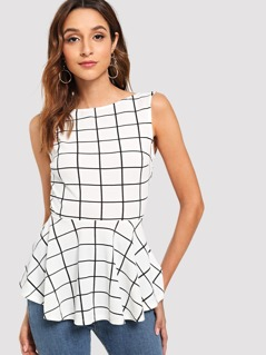Bow Back and Backless Grid Peplum Top