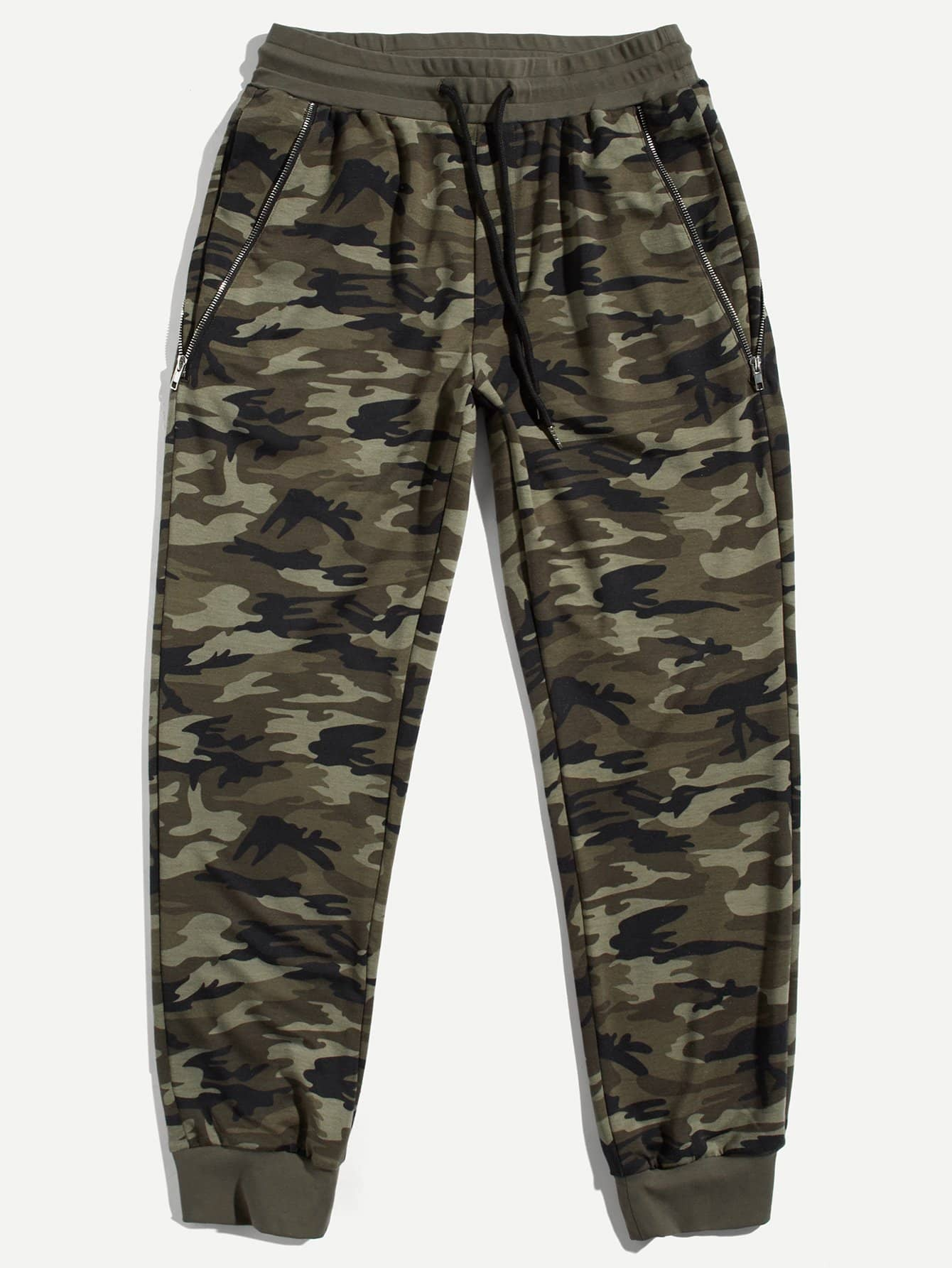 Men Zip Pocket Camo Drawstring Pants idopy men s street style denim pants camouflage camo joggers stretchy drawstring biker cargo pants for hipster