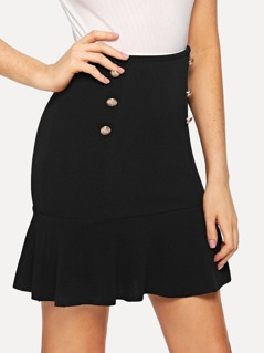 Double Button Flared Skirt