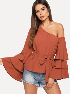 Asymmetric Shoulder Layered Sleeve Top