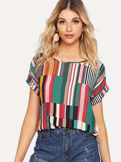 Mix Striped Rolled Up Sleeve Top