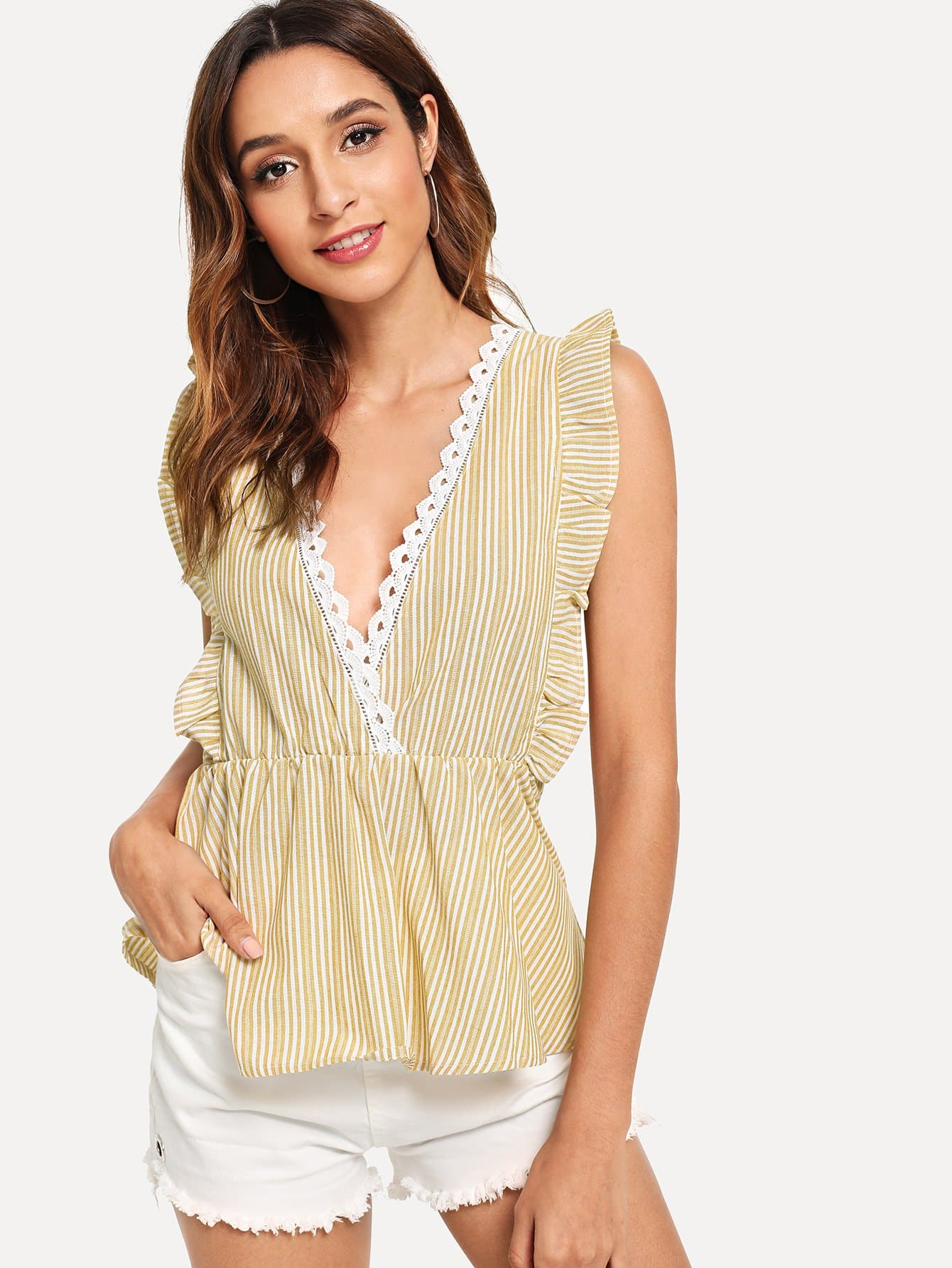 Купить Двухуровневая полосатая полосатая блузка, Gabi B, SheIn