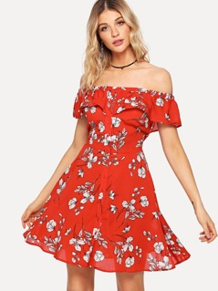 Flounce Layered Flower Print Dress