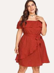 Plus Ruffle Trim Belted Polka Dot Dress